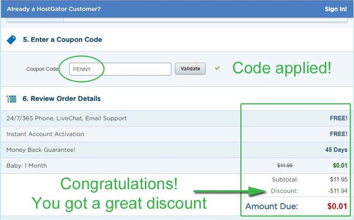 Coupon Code Applied